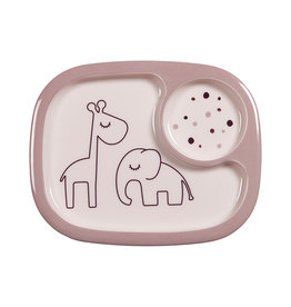 Done by Deer Yummy mini compartment plate Dreamy dots Powder