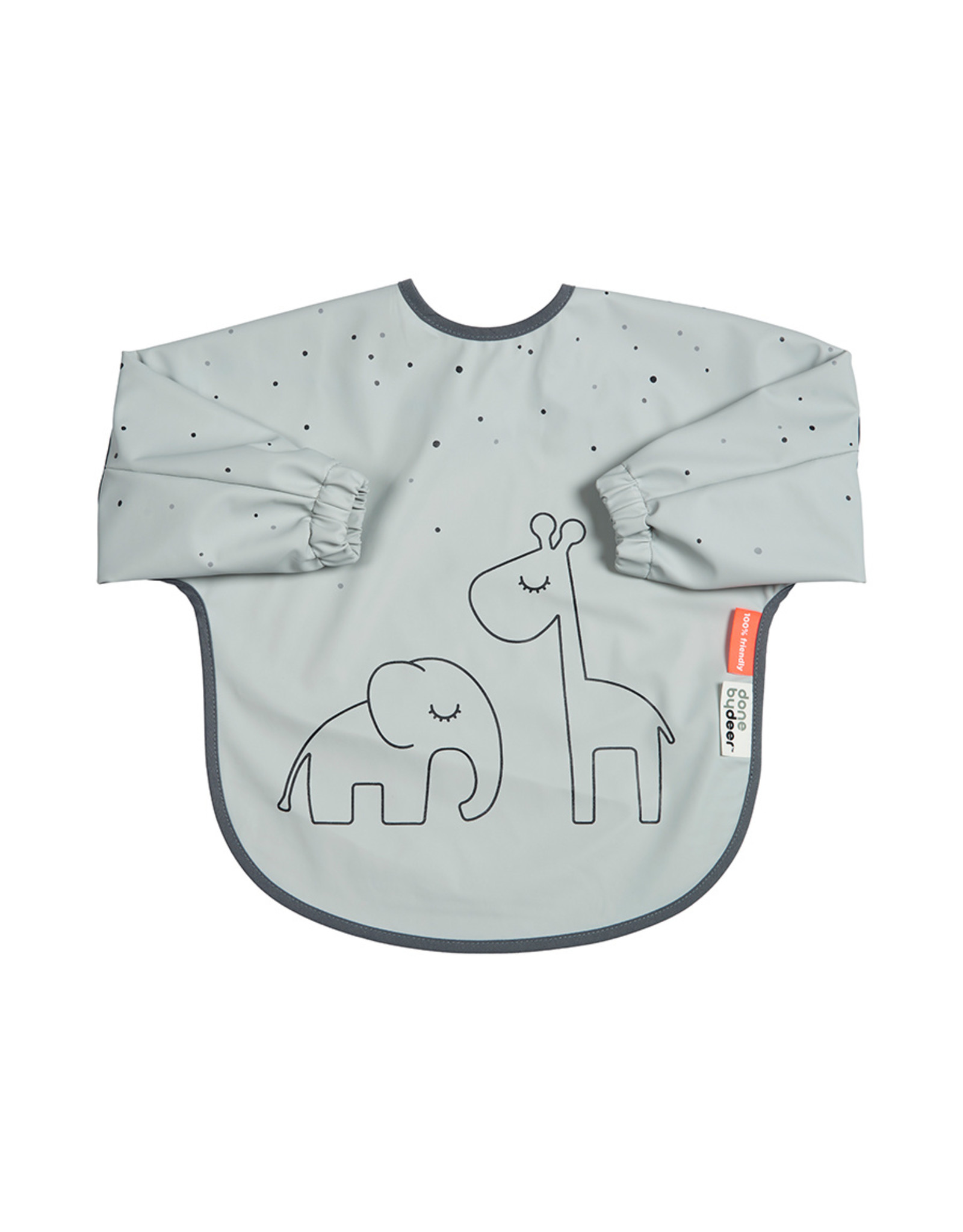 Done by Deer Sleeved bib. 6-18m Dreamy dots Grey