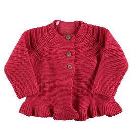 B.E.S.S. Cardigan Knitted Ruffle, Coral