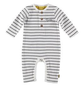B.E.S.S. Suit Henley Striped, White