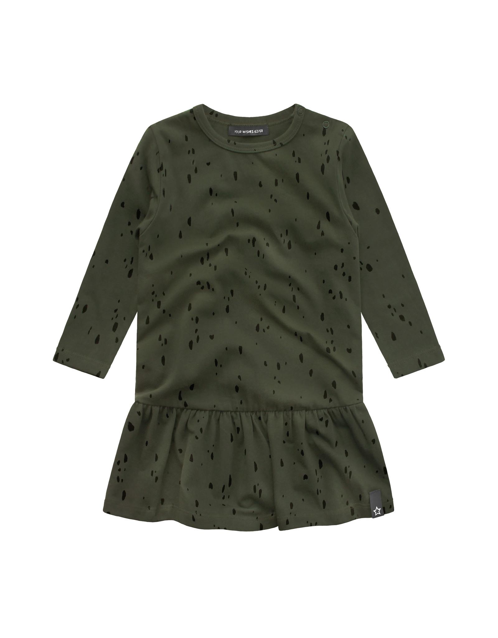 Your Wishes Splatters   Shift Dress, Desk Green