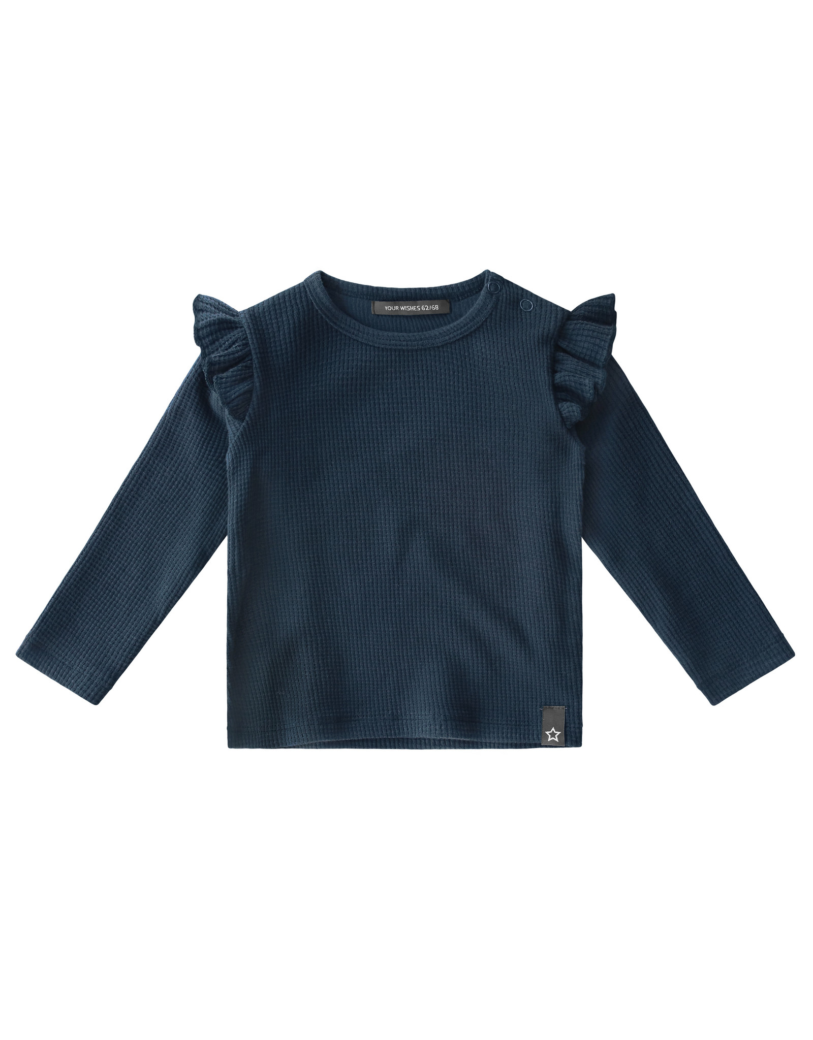 Your Wishes Navy - Waffle   Ruffle Shoulder Top, Navy