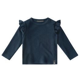 Your Wishes Navy - Waffle | Ruffle Shoulder Top, Navy