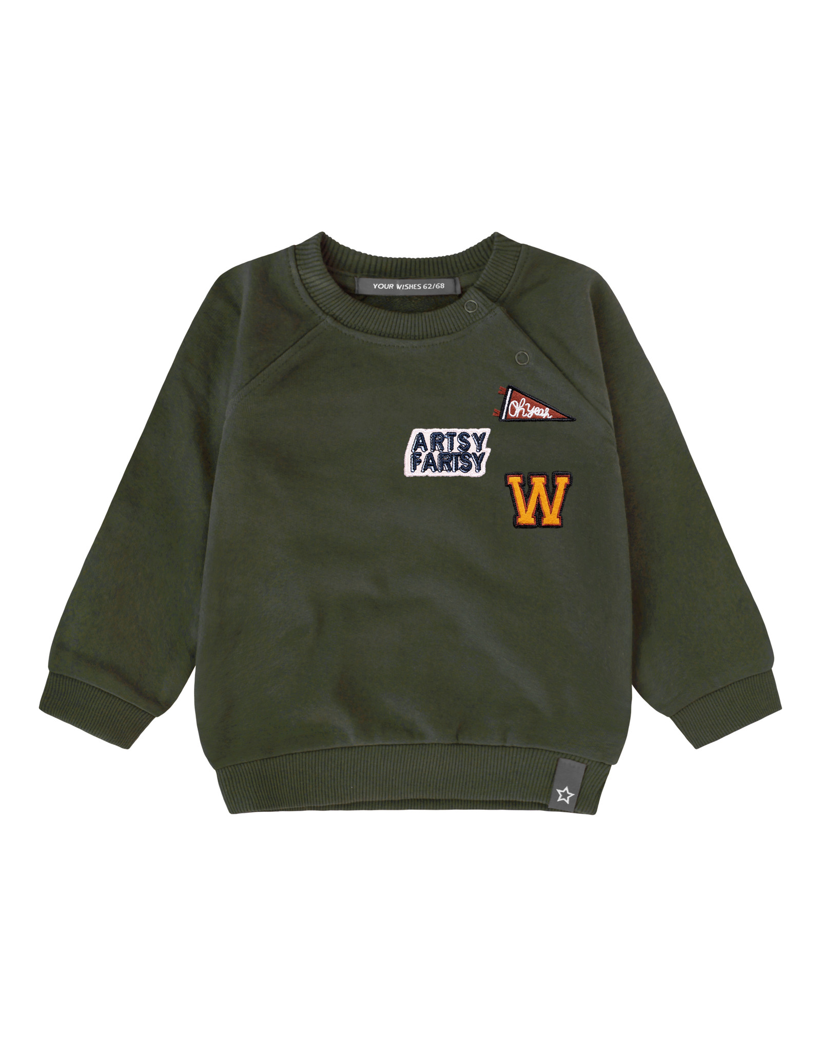 Your Wishes Varsity Patch | Sweater, Desk Green