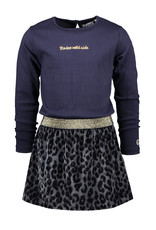 Moodstreet MT dress with fake fur skirt, Navy