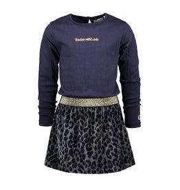 Moodstreet MT dress with fake fur skirt, Navy