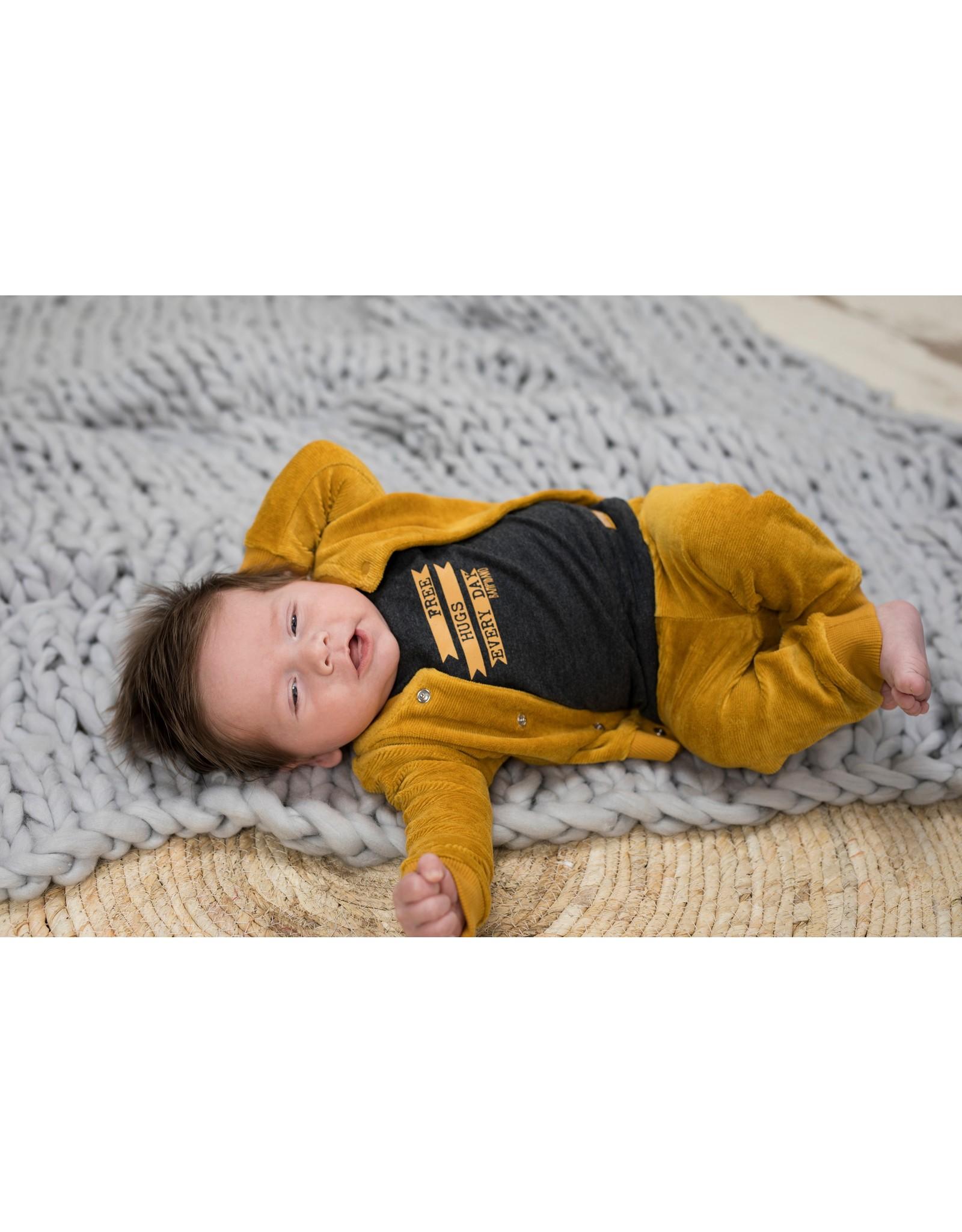 Bampidano Little Bampidano New Born rib velvet cardigan Benja FREE HUGS, ocre yellow