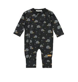 Little Bampidano New Born overall Bo allover print/yd stripe with envelope feet + chest pocket FREE HUGS, anthra AOP