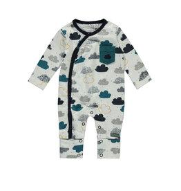 Bampidano Little Bampidano New Born overall Ali allover print/yd stripe with envelope feet + chest pocket CLOUDS, allover