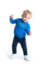 B-Nosy Baby boys sweater with embroidery, Nautical blue
