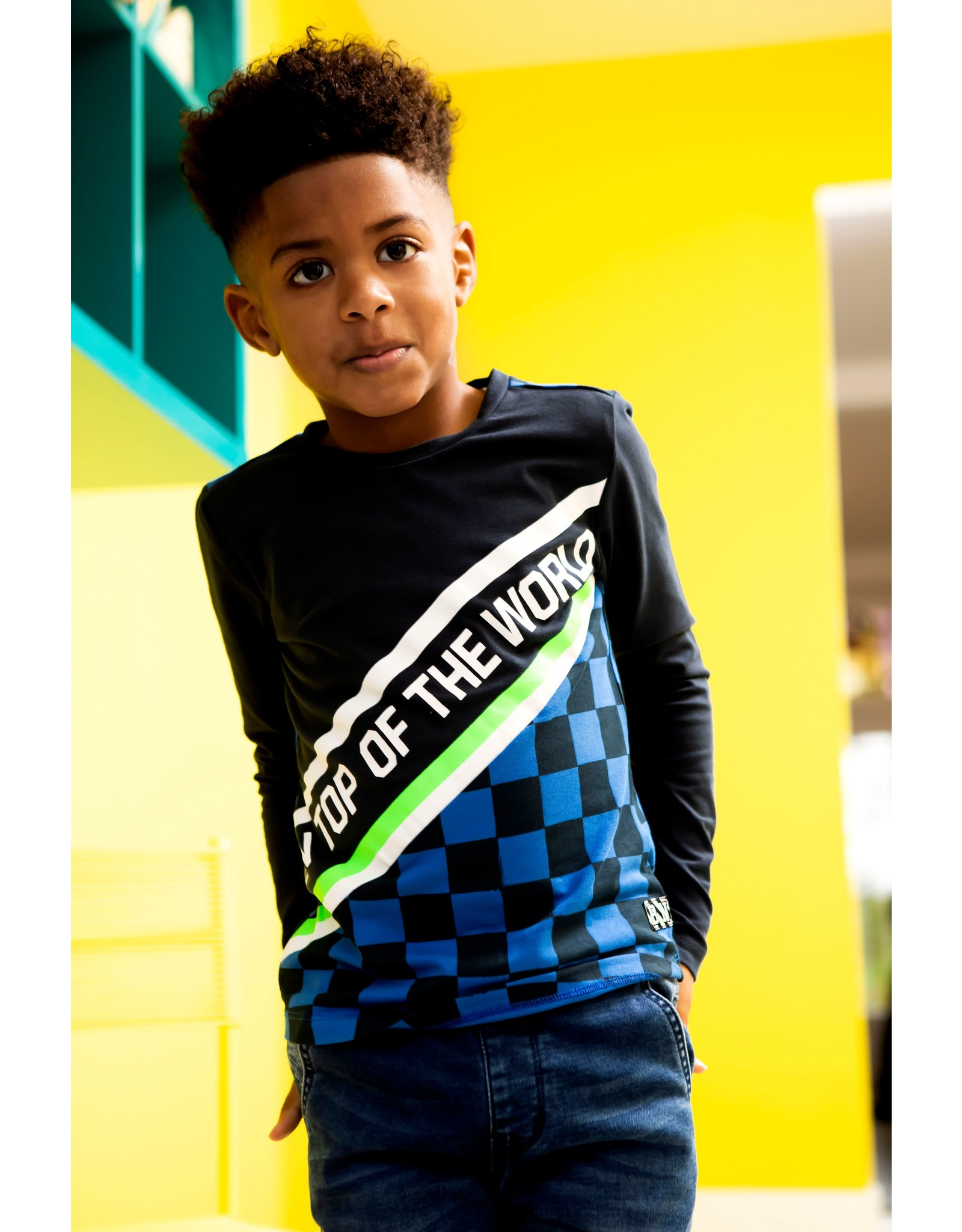 B-Nosy Boys 2-panel t-shirt with aop check part and slanted artwork , Oxford blue