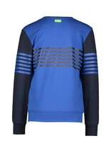 B-Nosy Boys sweater with vertical printed stripes on body and sleeves , Nautical blue