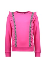 B-Nosy Girls sweater with vertical ruffles and contrast zebra tape, Pink glo