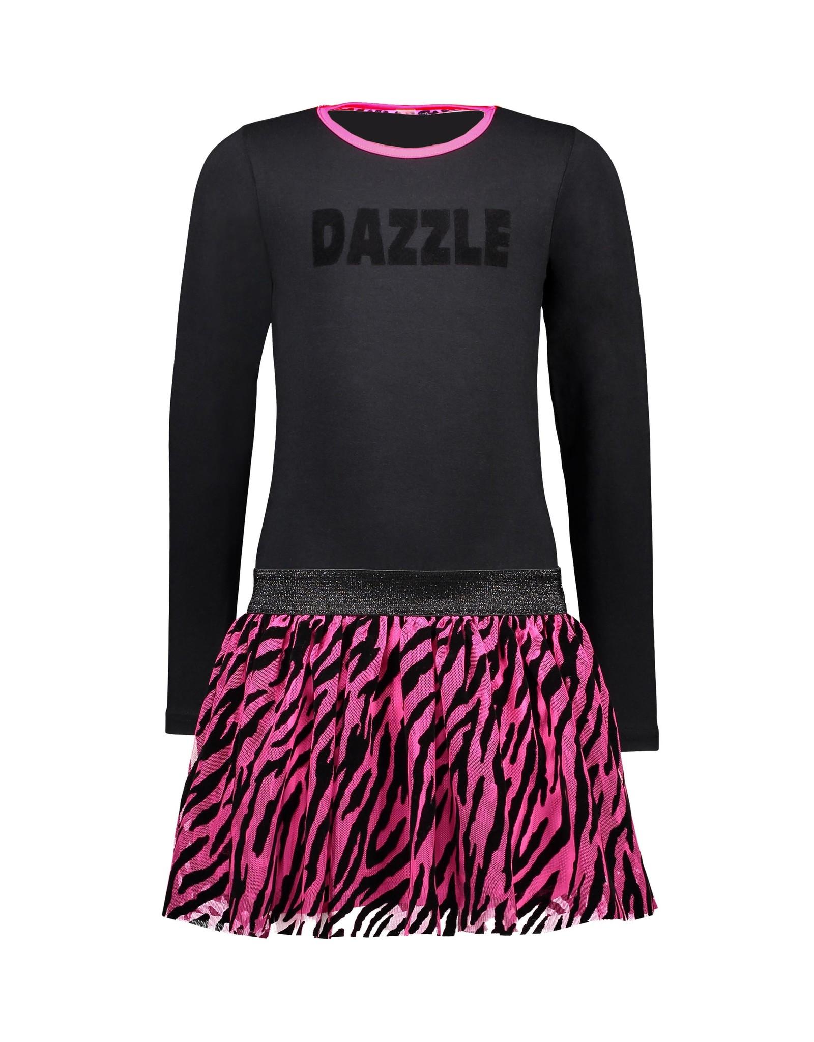 B-Nosy Girls dress with 2-layer mesh skirt with zebra flock aop, Black