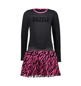 B-Nosy Girls dress with 2-layer mesh skirt with zebra flock aop, Black
