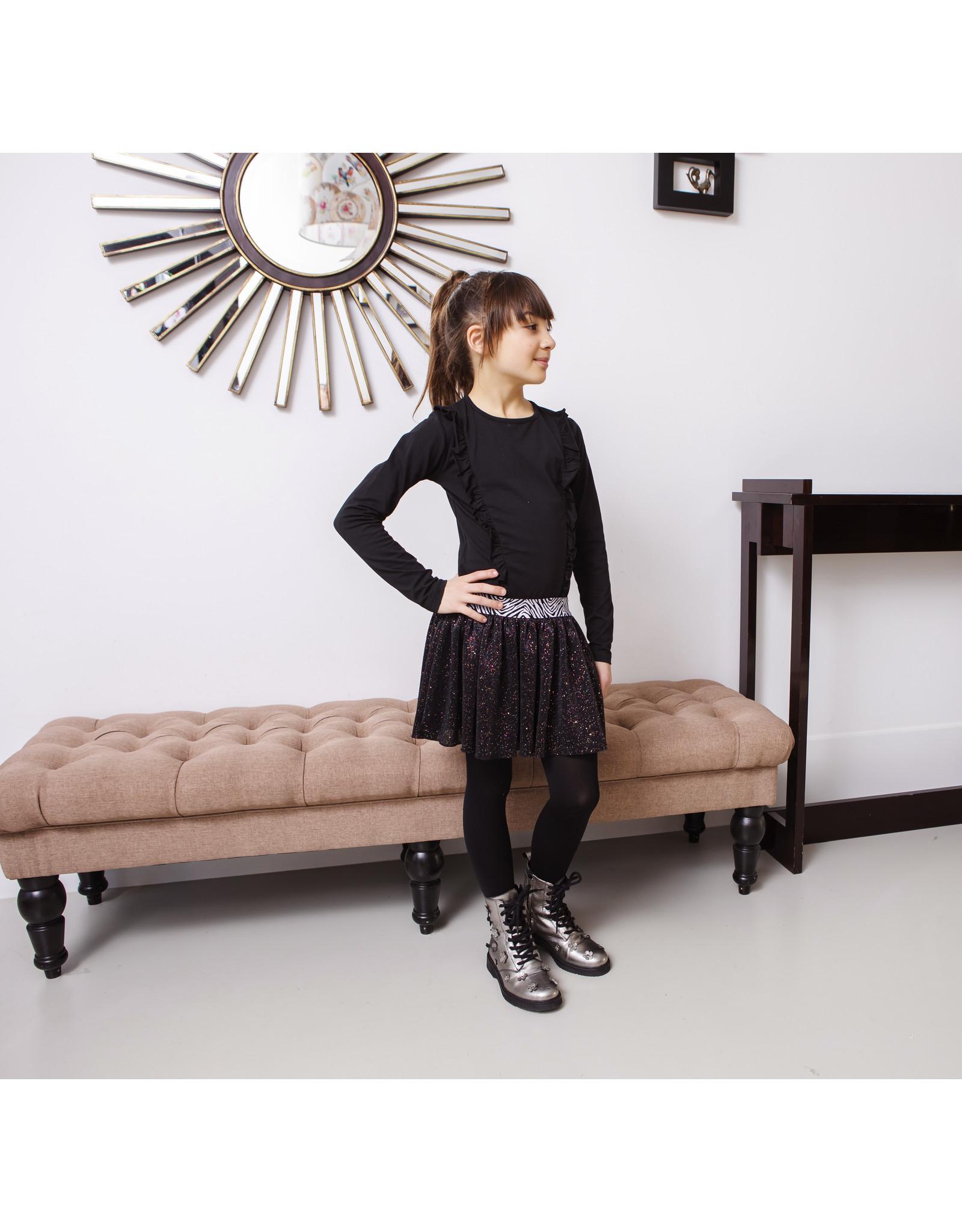B-Nosy Girls dress with flock aop top and sequince skirt, Black zebra
