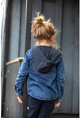 B-Nosy Boys denim blouse with hood, Dark blue denim