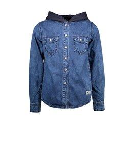 B-Nosy Boys denim blouse with hood, Dark blue denim