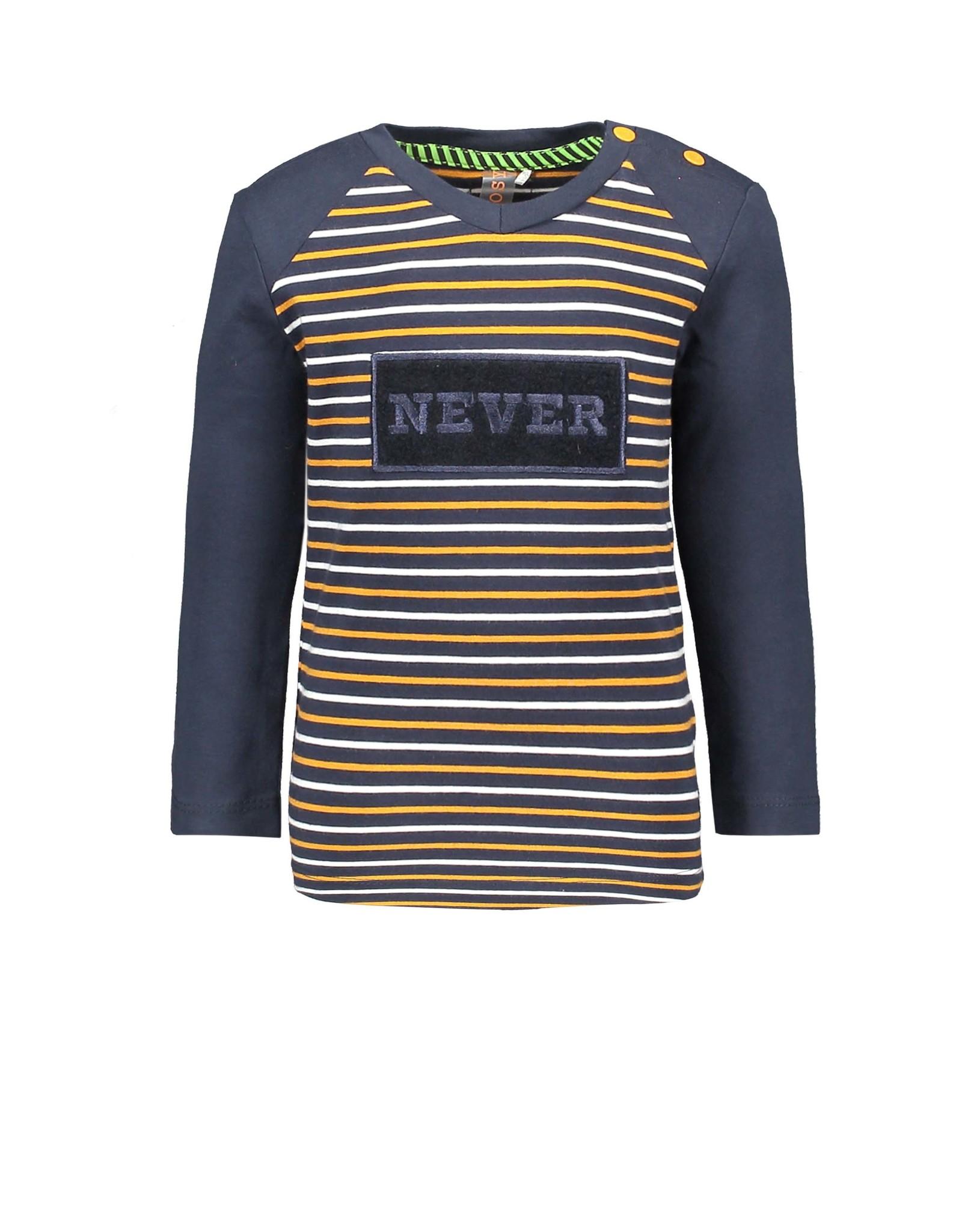 B-Nosy Boys fake raglan YDS t-shirt with special artwork  on chest, Oak stripe