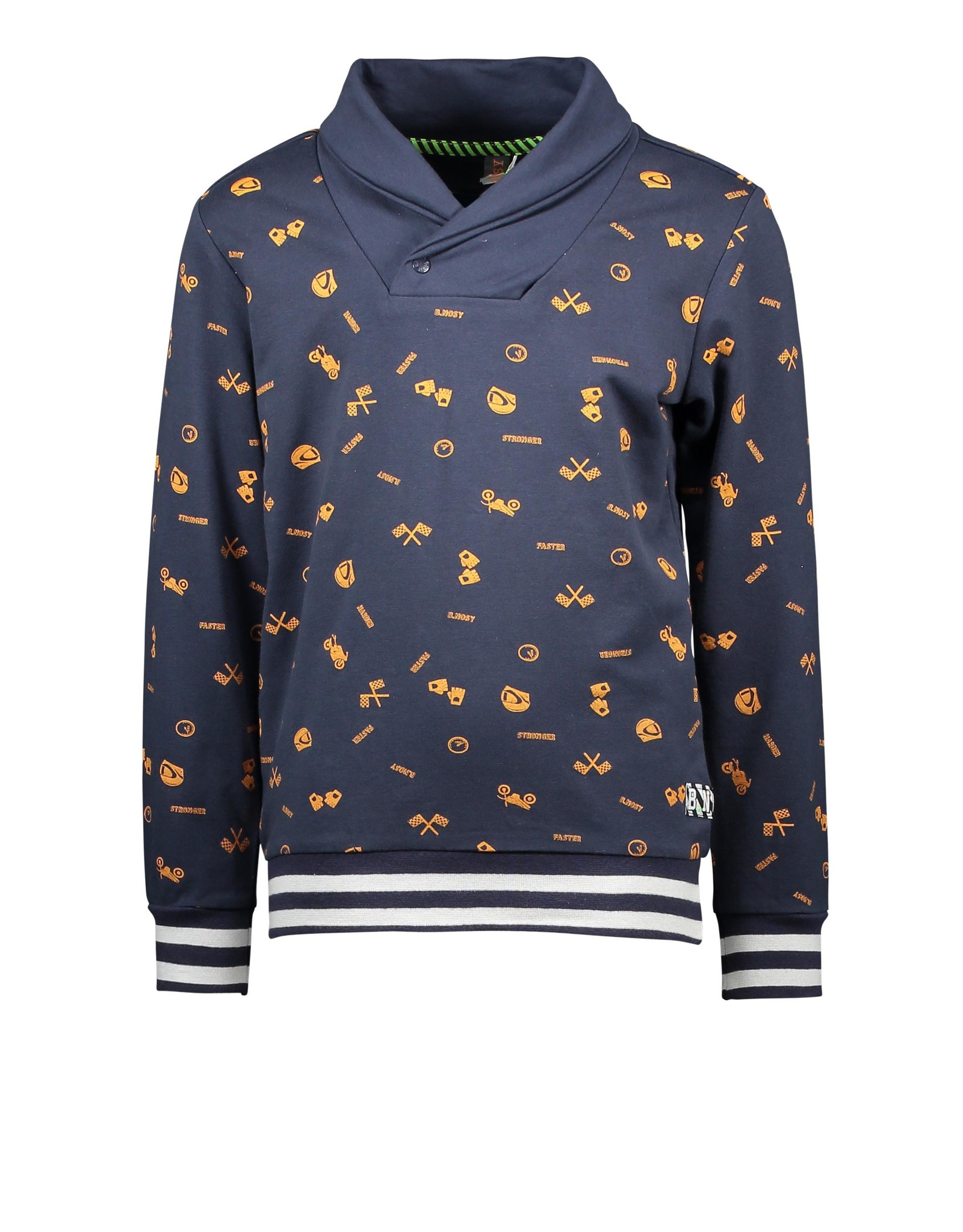 B-Nosy Boys aop race oak sweater with coll neck and stiped rib, Race oak aop