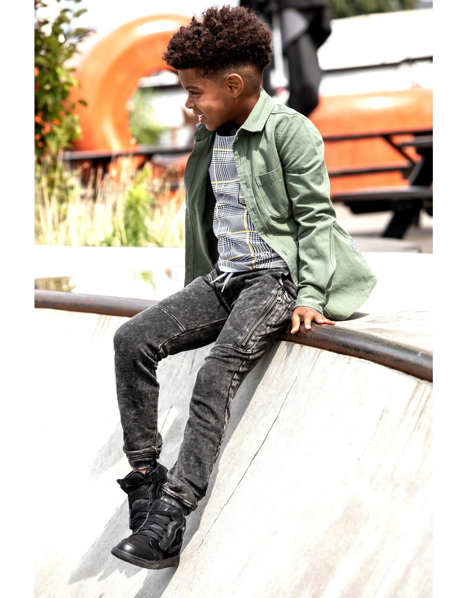 B-Nosy Boys sweat pants with zipper details and check aop stroke detail, black denim