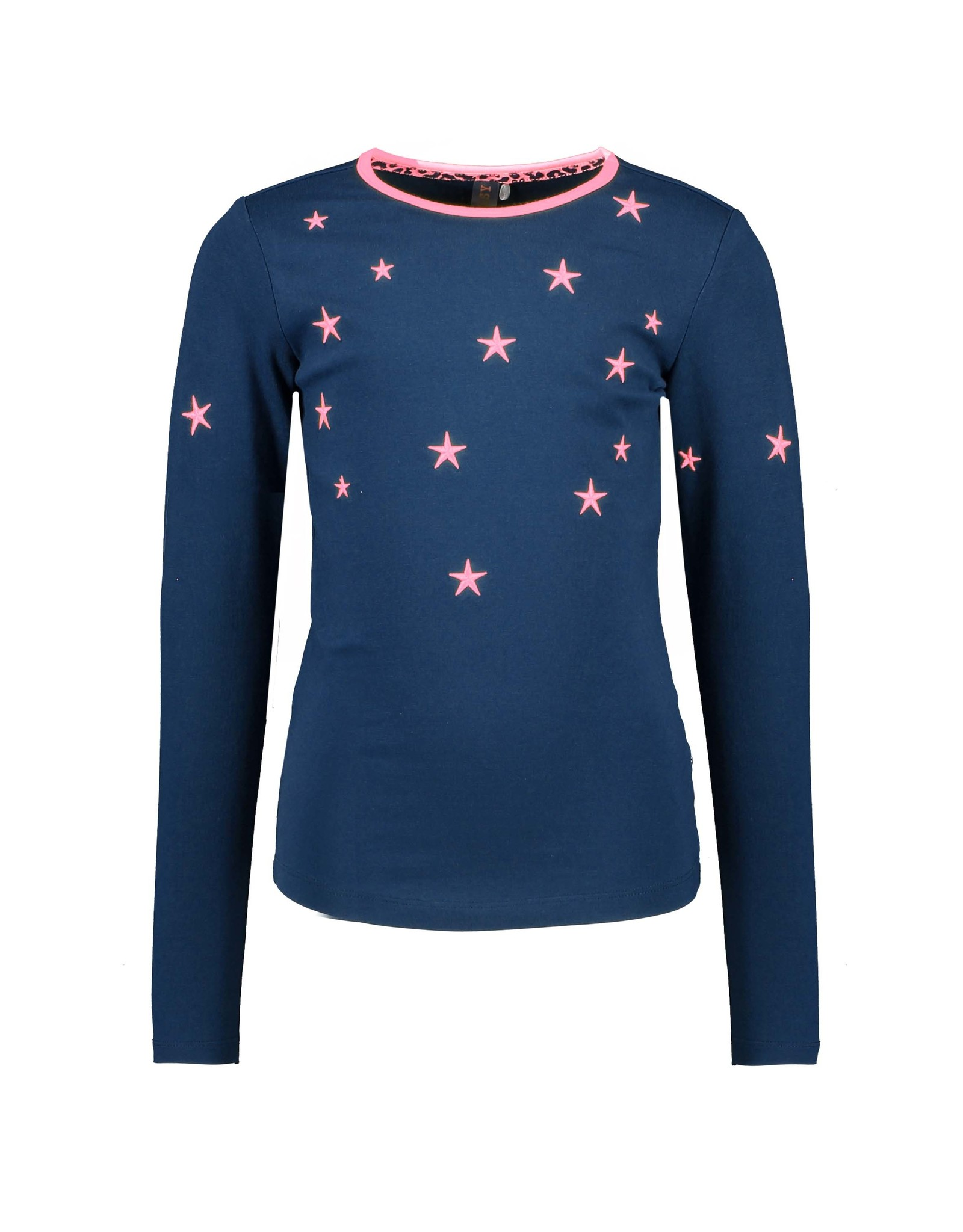 B-Nosy Girls t-shirt with embroidered stars around neck, space blue