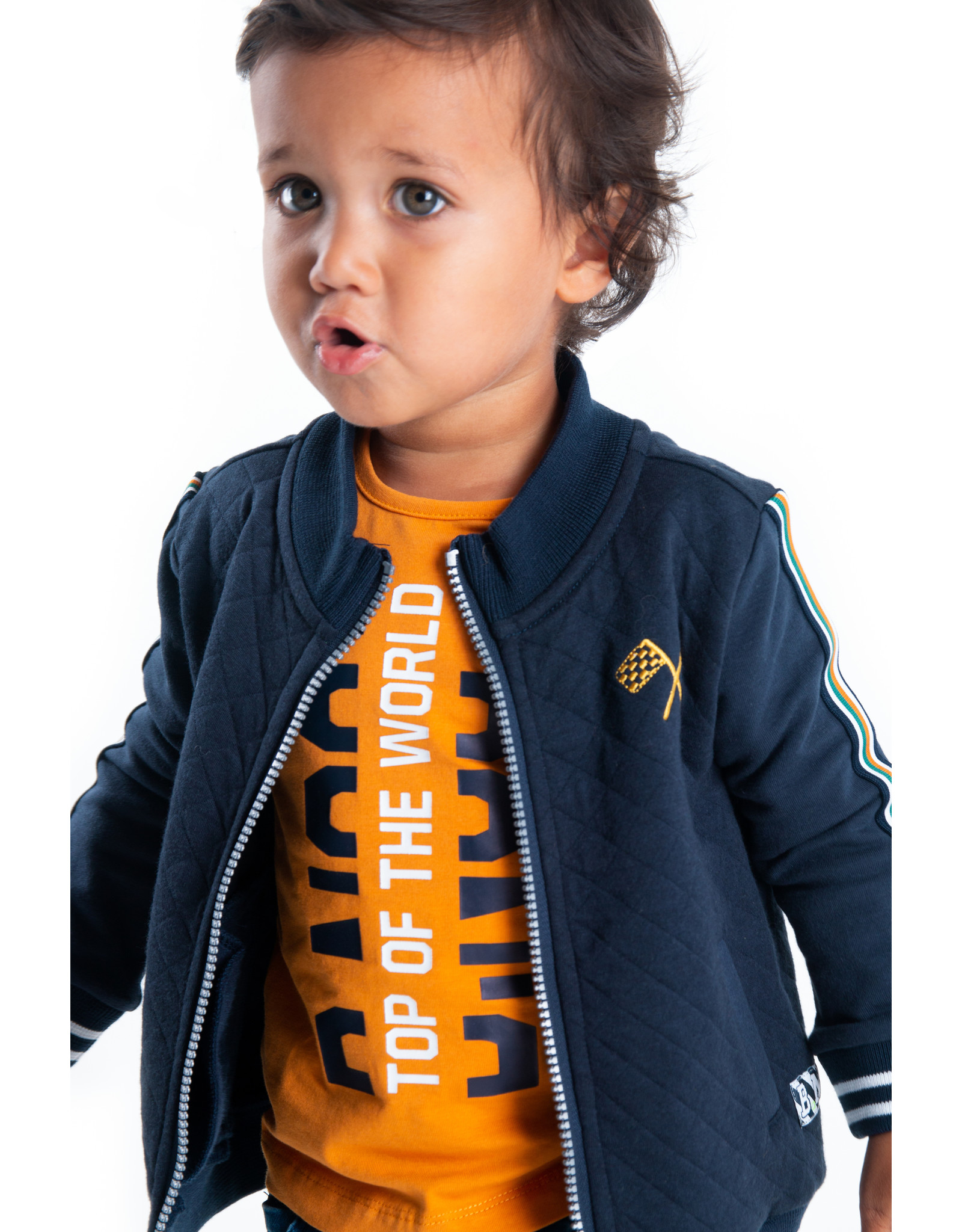 B-Nosy Baby boys quilted cardigan with plain sleeves + tape, Oxford blue