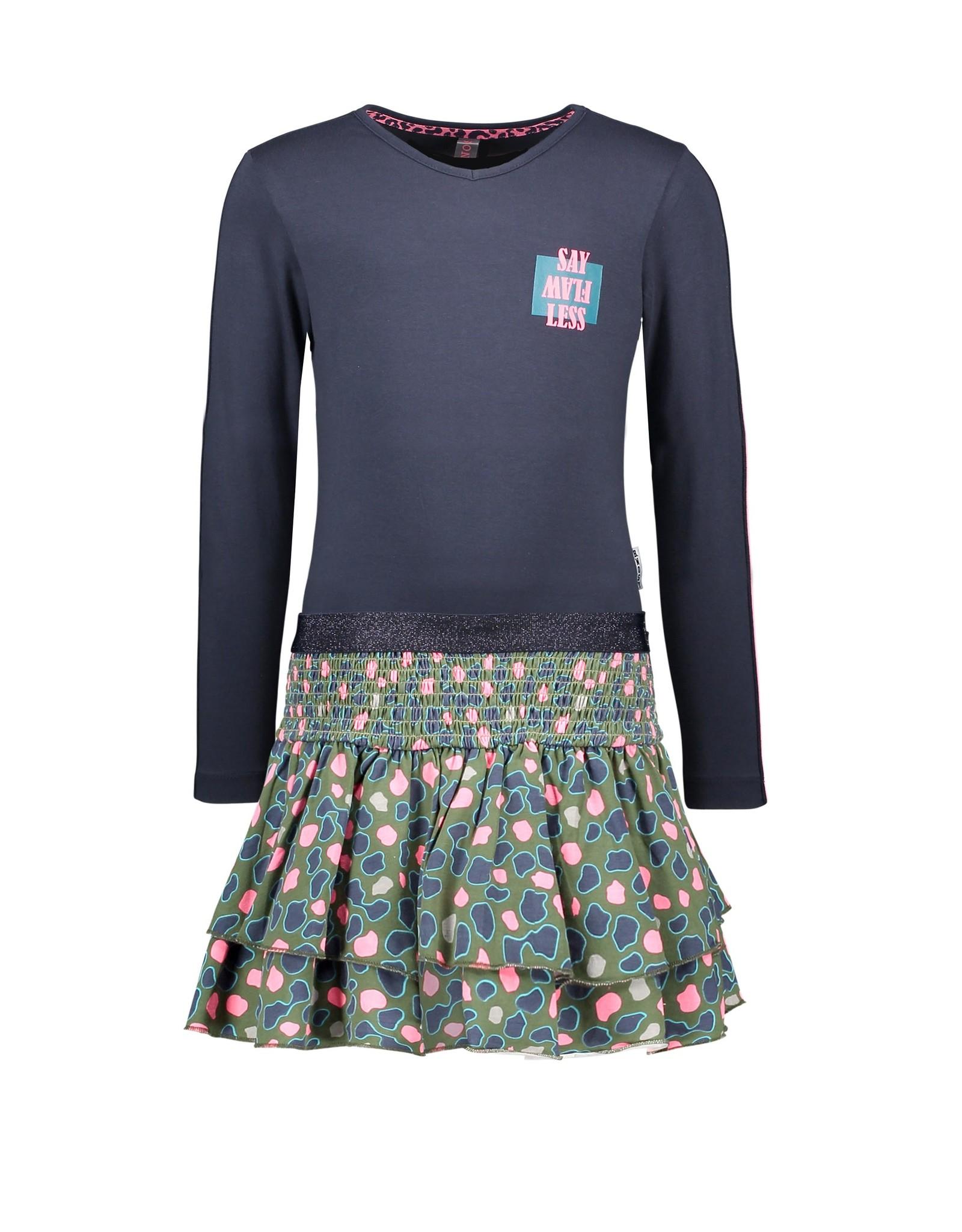 B-Nosy Girls dress with aop spots skirt, ruffles aop sleeve, elastic in waist, Oxford blue
