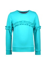 B-Nosy Girls sweater with same fabric ruffle on sleeve and front, Ceramic