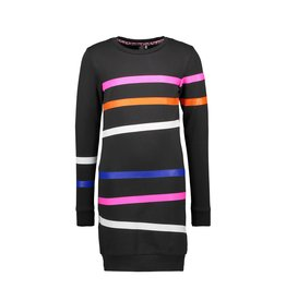 B-Nosy Girls sweat dress with printed stipes on body and sleeves, Black