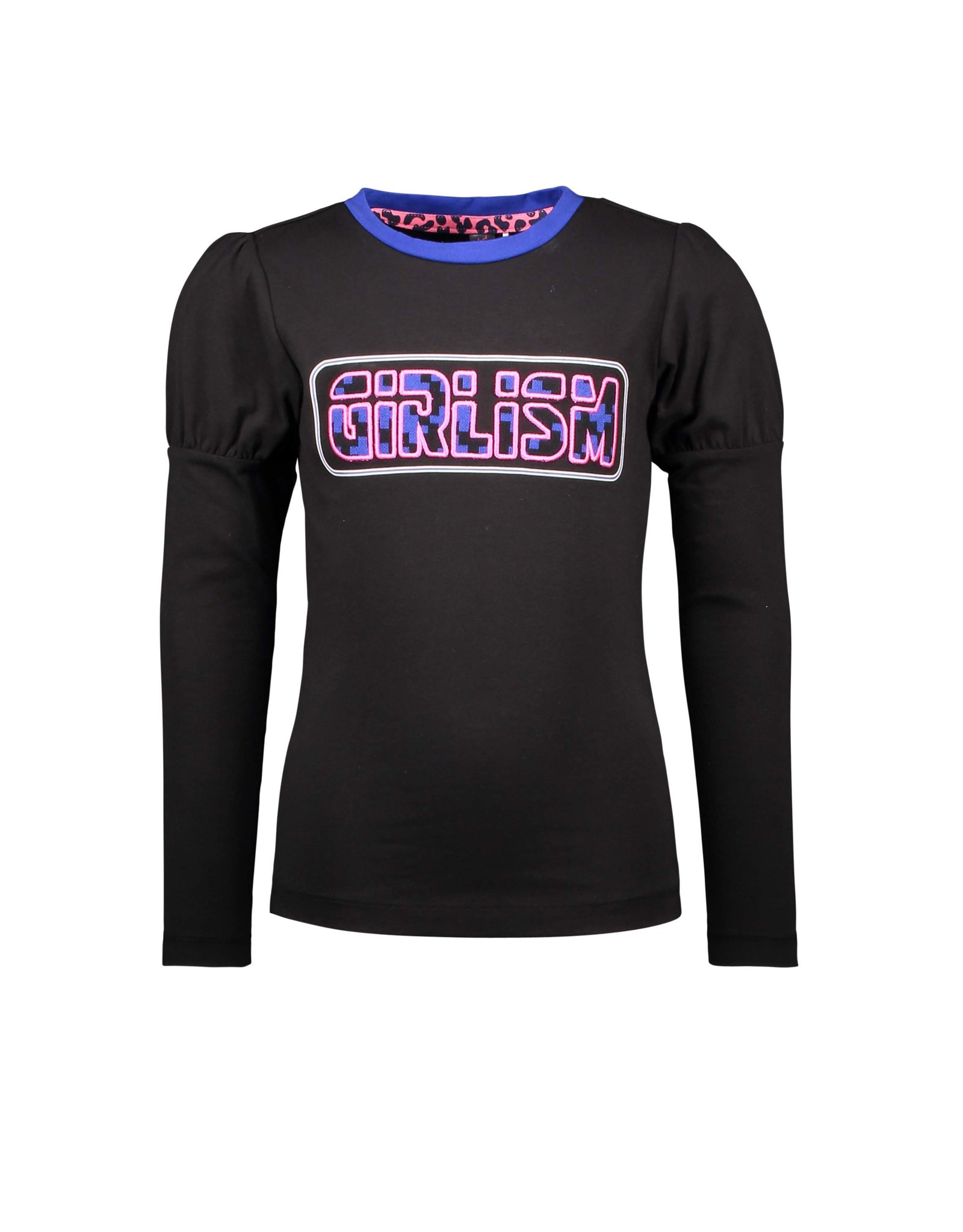 B-Nosy Girls t-shirt with puffed sleeves and chest artwork, Black