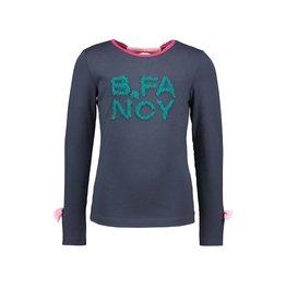B-Nosy Girls t-shirt with fancy pleated mesh artwork, Oxford blue