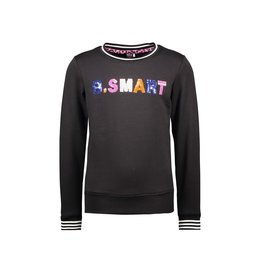 B-Nosy Girls sweater with sequince artwork on chest, Black