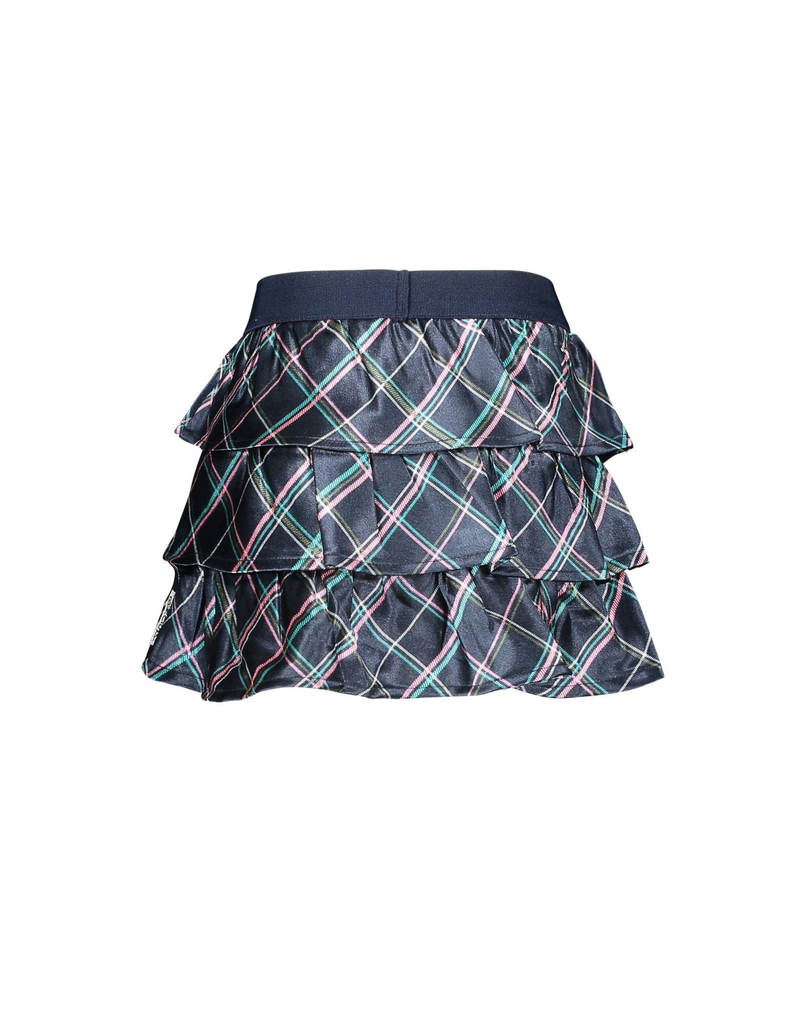B-Nosy Girls layered skirt with check fabric used slanted, Check oxford blue