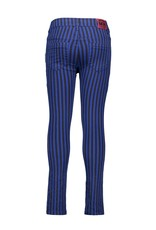 B-Nosy Girls denim pants with printed stripe, Cobalt blue stripe