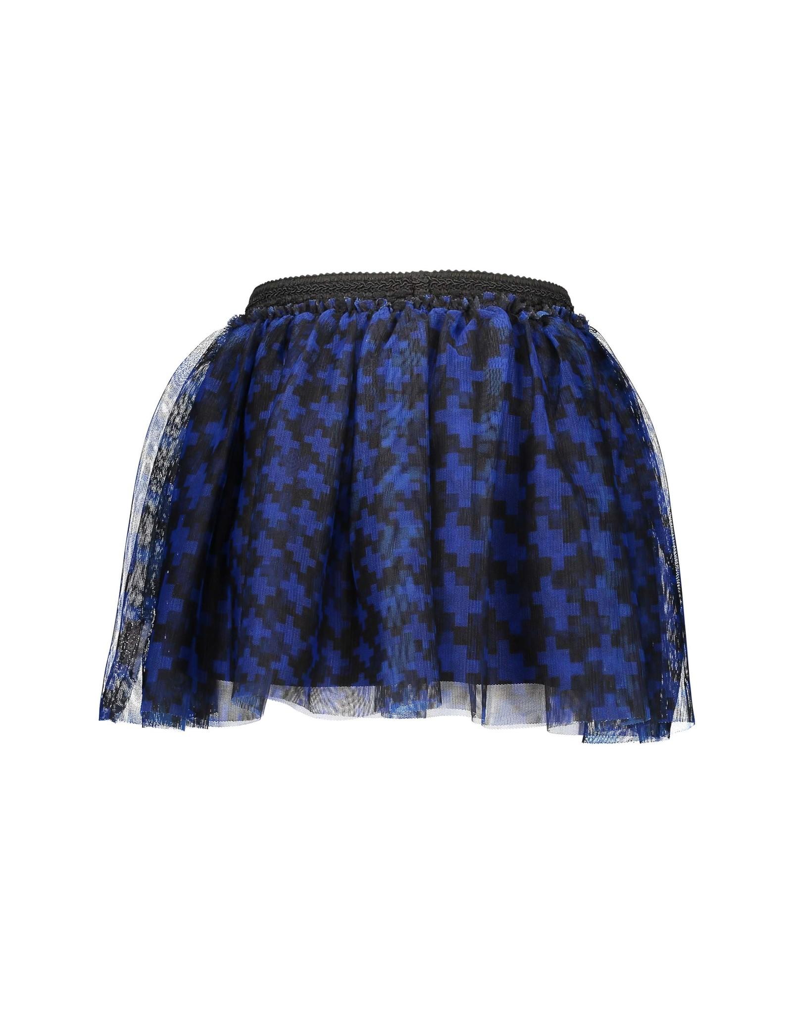 B-Nosy Girls mesh skirt with pied du poule aop, Maxi cobalt puzzle