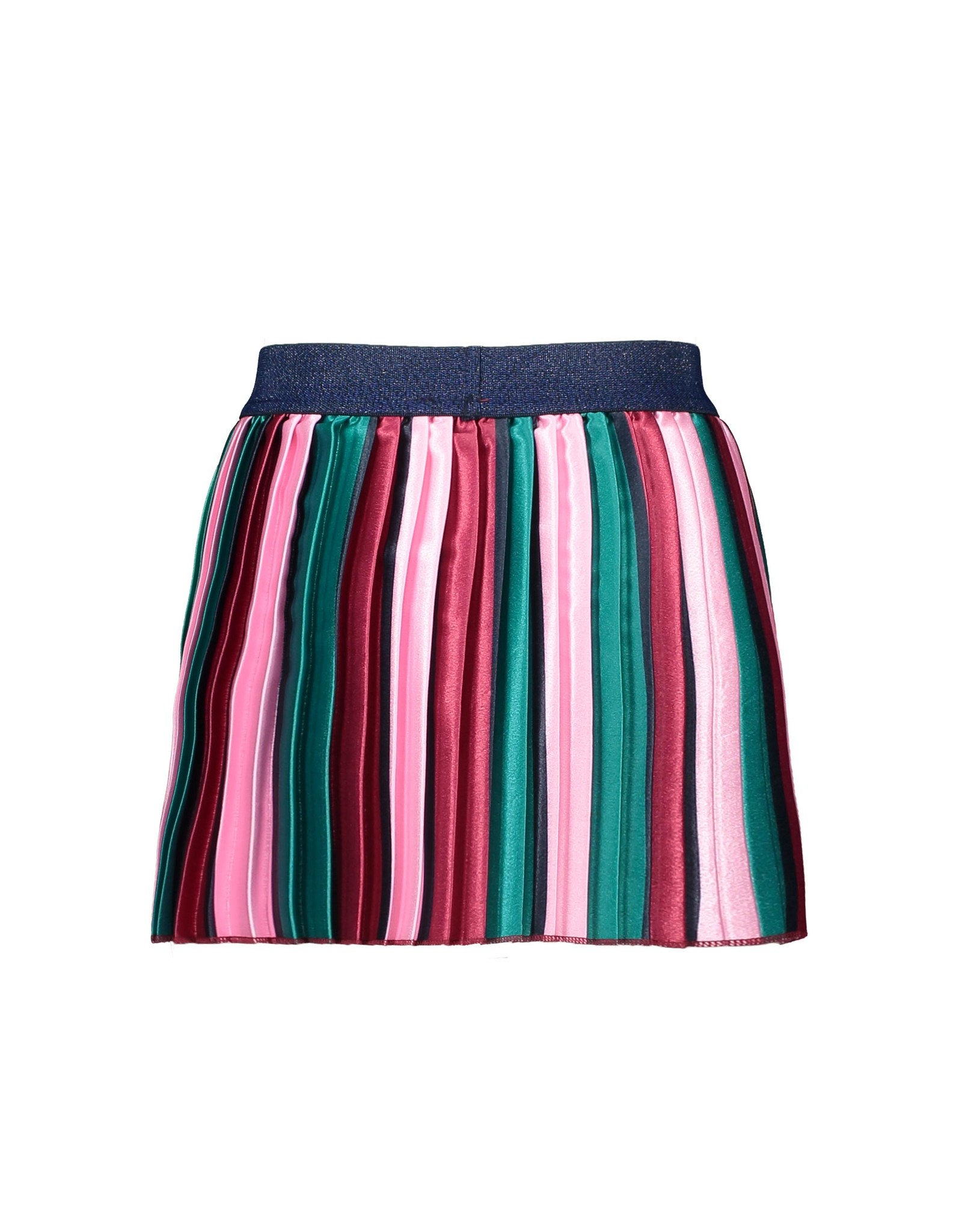 B-Nosy Girls satin pleated skirt with vertical stripes, Fancy stripe