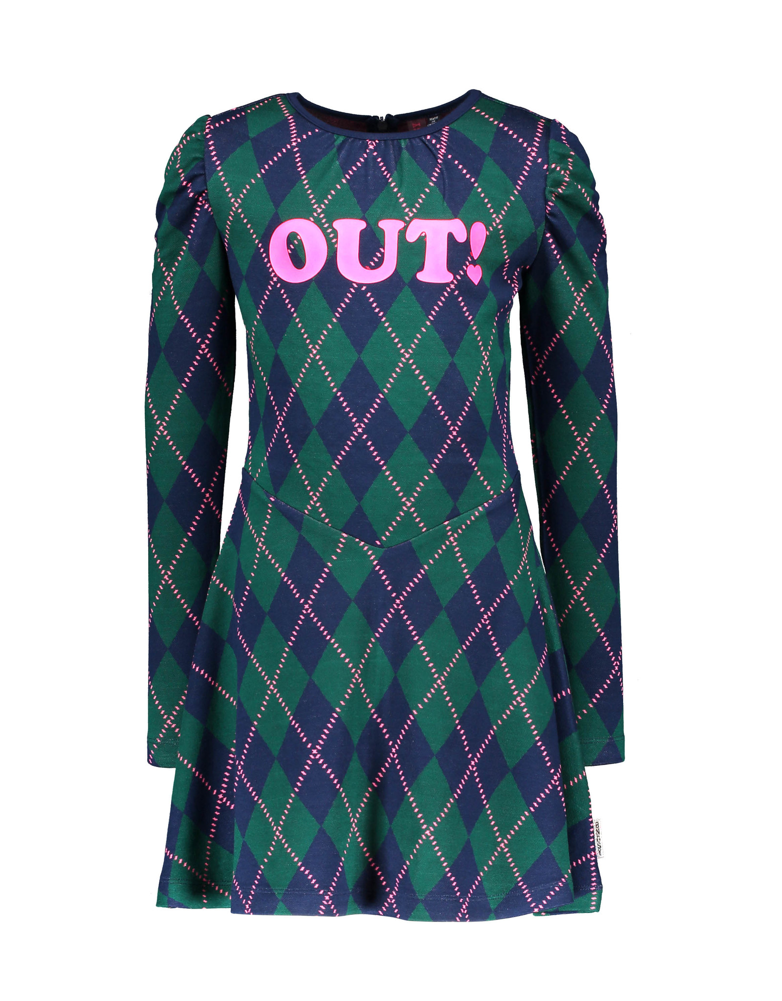 B-Nosy Girls intarsia check dress with puffed sleeves, Out check