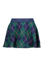 B-Nosy Girls pleated intarsia check skirt, Out check