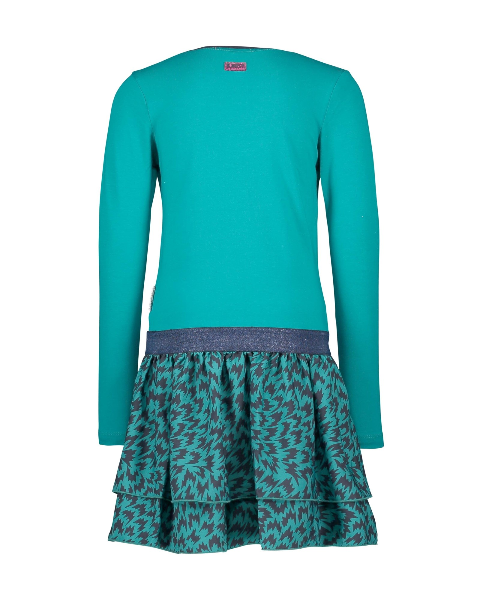 B-Nosy Girls dress with woven flame aop skirt, Fanfare flame