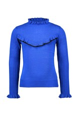 B-Nosy Gils knitted pullover with v-shaped ruffle, Cobalt blue