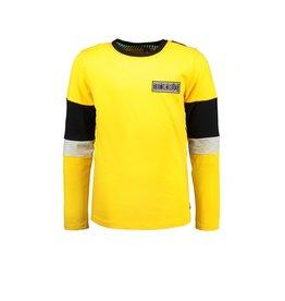 B-Nosy Boys t-shirt with slanted striped backside, Lemon chrome