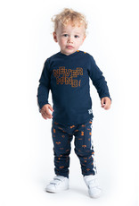 B-Nosy Boys t-shirt with tape on sleeves and embro on chest, Oxford blue