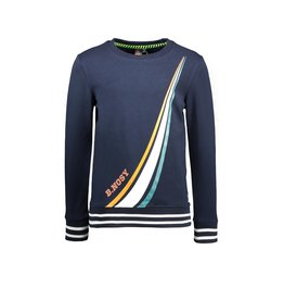 B-Nosy Boys sweater with colored stripe print on front panel, Oxford blue