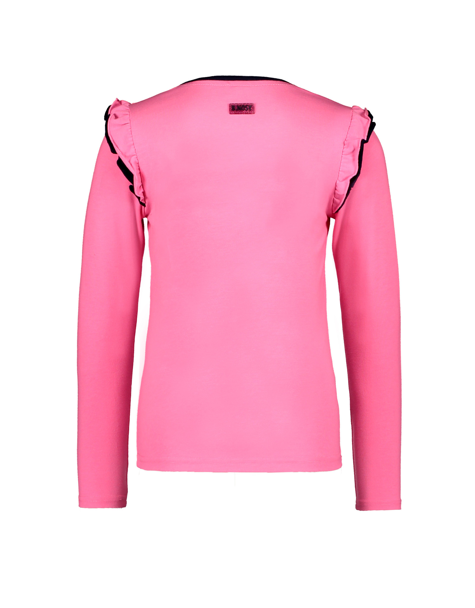 B-Nosy Girls t-shirt  with double layer ruffle around armhole, Knock out pink