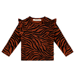 Your Wishes Zebra | Ruffle Shoulder Top, Potters Clay