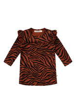Your Wishes Zebra   Ruffle Shoulder Dress, Potters Clay