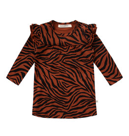 Your Wishes Zebra | Ruffle Shoulder Dress, Potters Clay