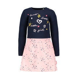 Bampidano Little Bampidano Baby Girls dress Brechtje with plain top + allover print skirt SWEET, navy