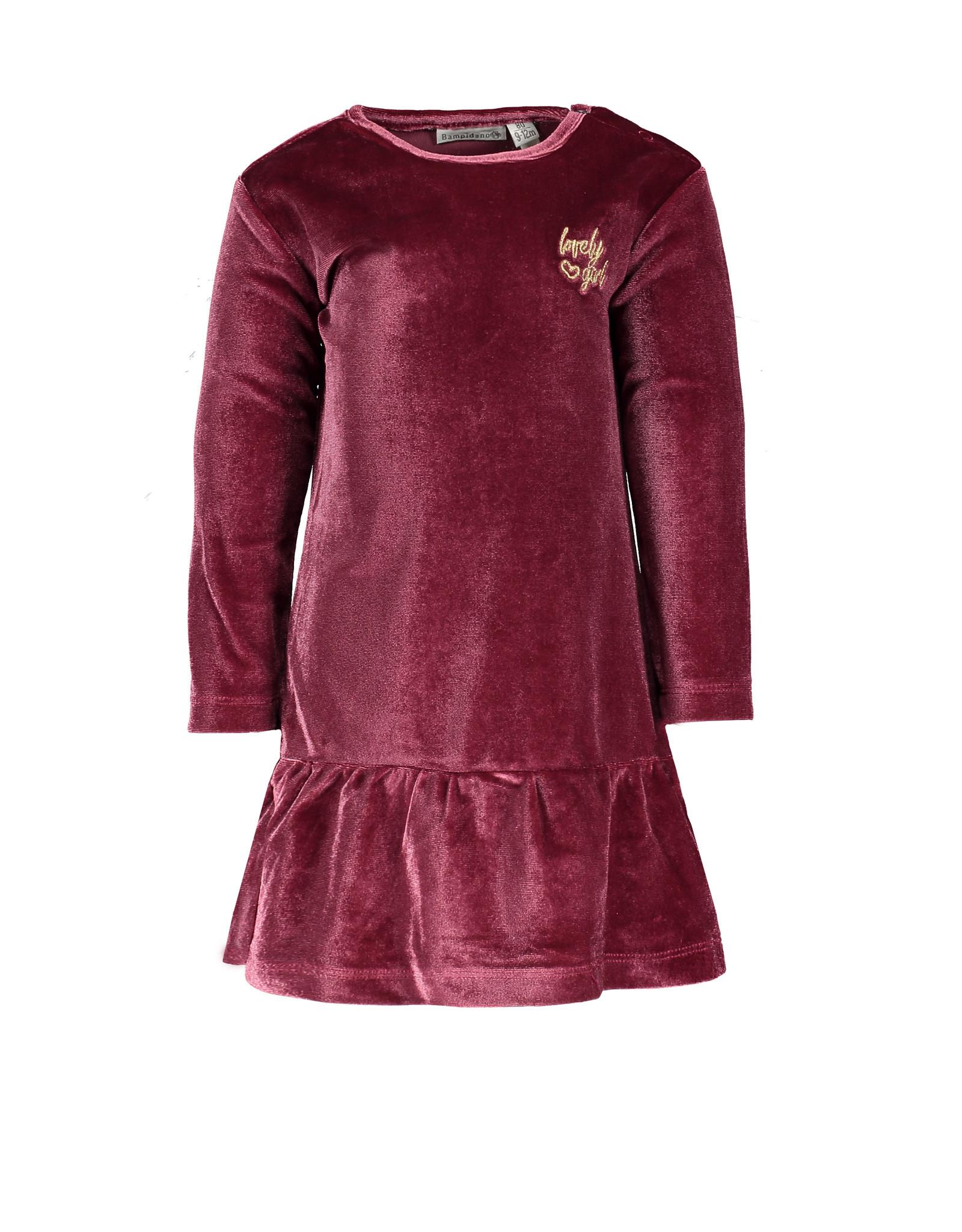 Bampidano Little Bampidano Baby Girls velvet dress Bella SWEET, bordeaux